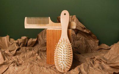 La brosse à cheveux en bois.